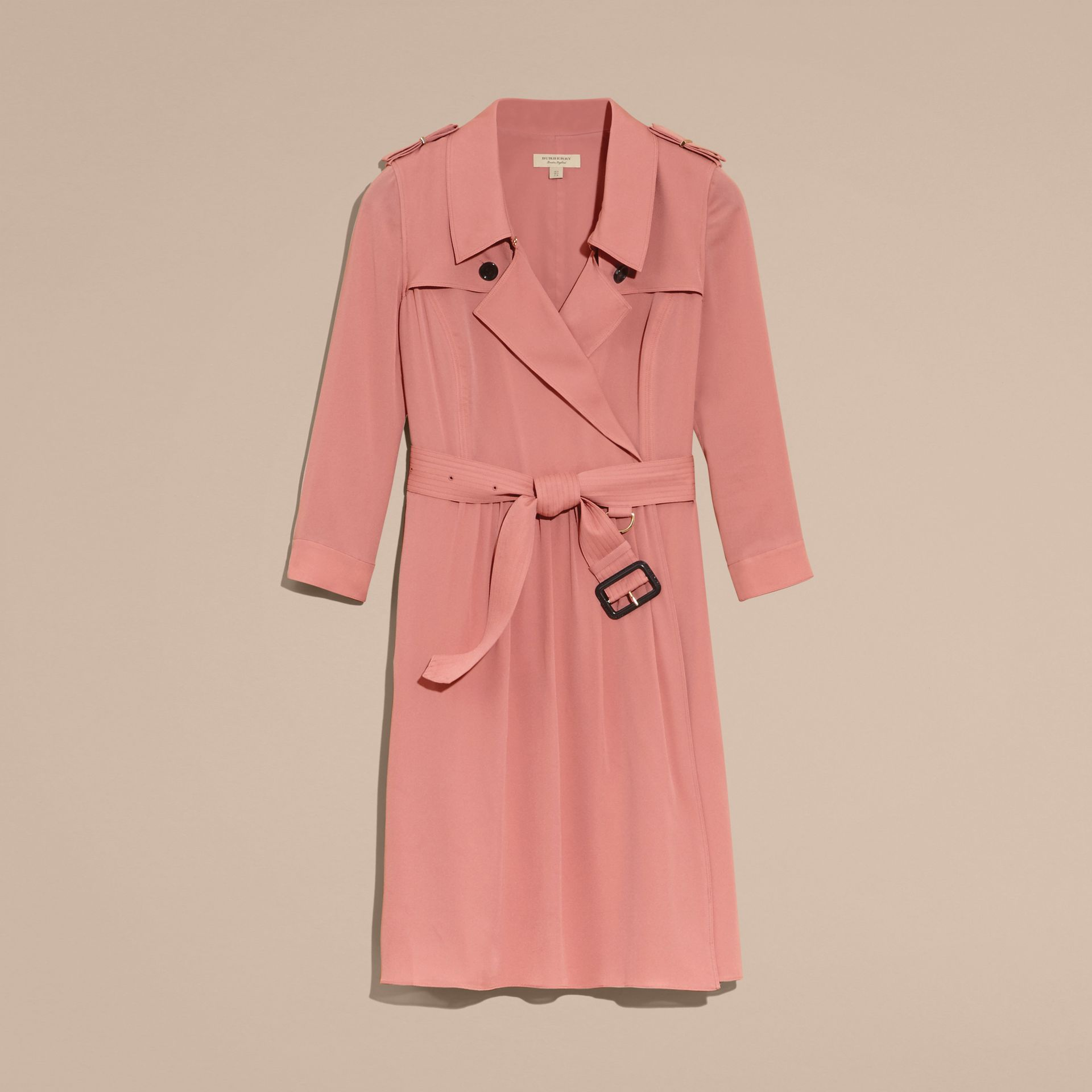 Silk Trench Dress Light Copper Pink - gallery image 4