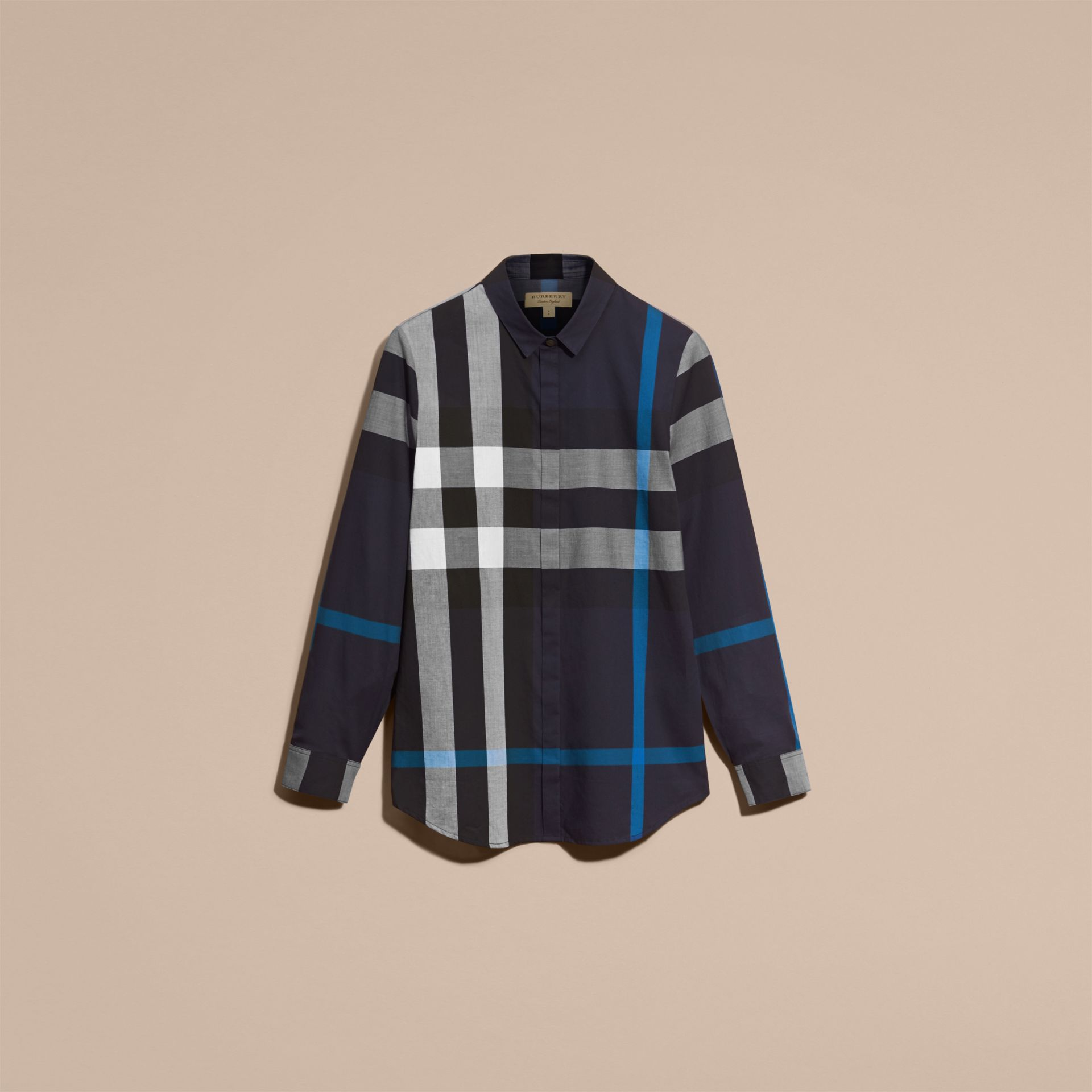 Navy check Check Cotton Shirt Navy - gallery image 4