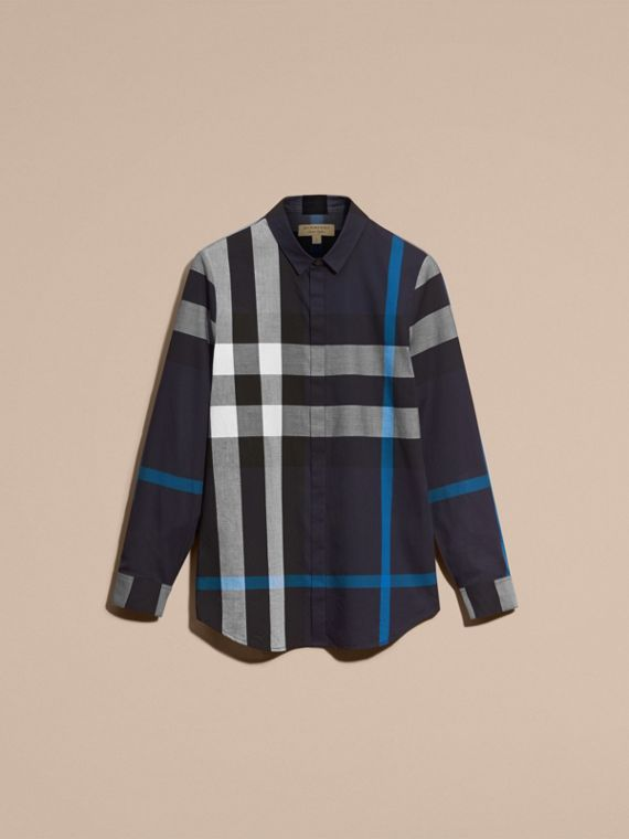 Navy check Check Cotton Shirt Navy - cell image 3