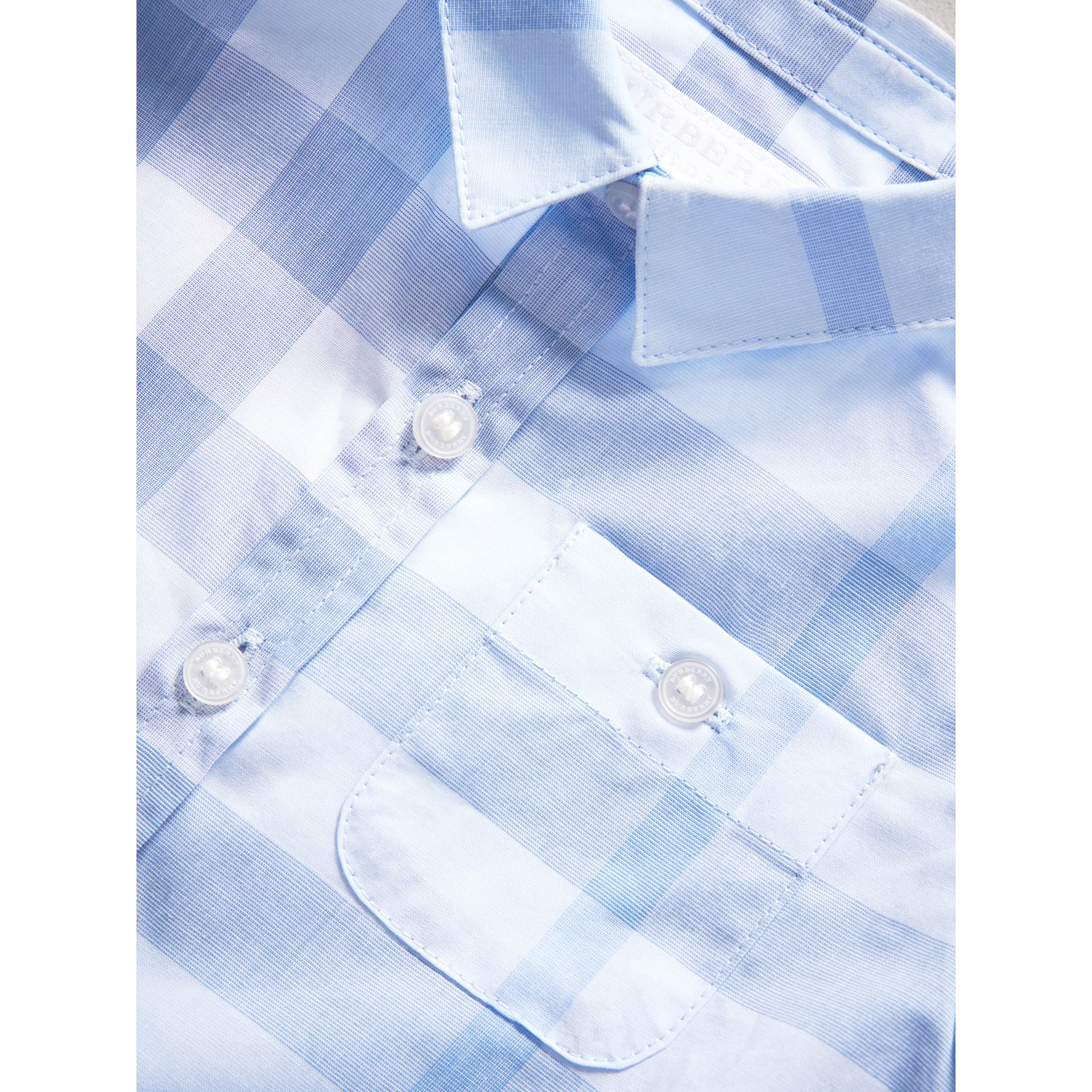 Short-sleeve Check Cotton Shirt in Ice Blue | Burberry - gallery image 1
