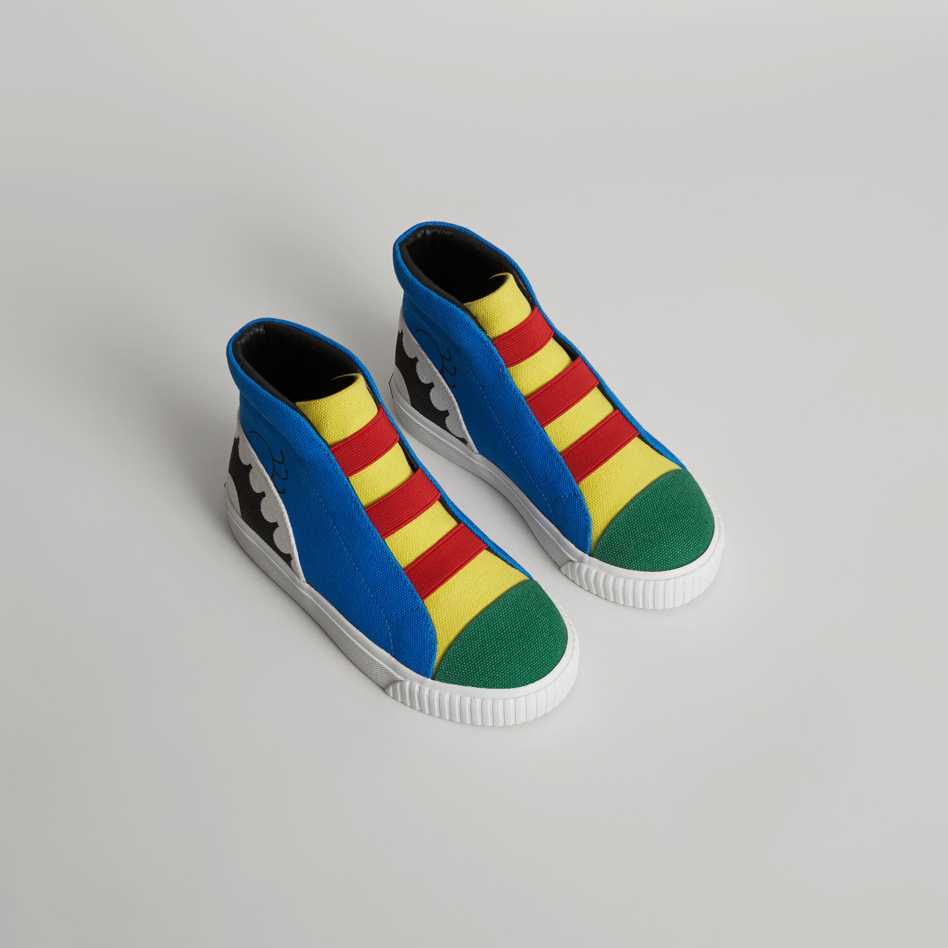 Monster Graphic High-top Sneakers in Bright Sky Blue | Burberry - gallery image 0