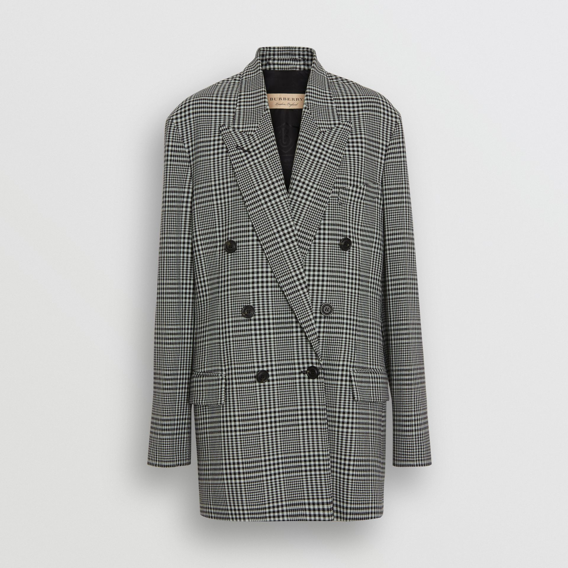 Prince of Wales Check Wool Oversized Jacket in Mist Green - Women | Burberry - gallery image 3