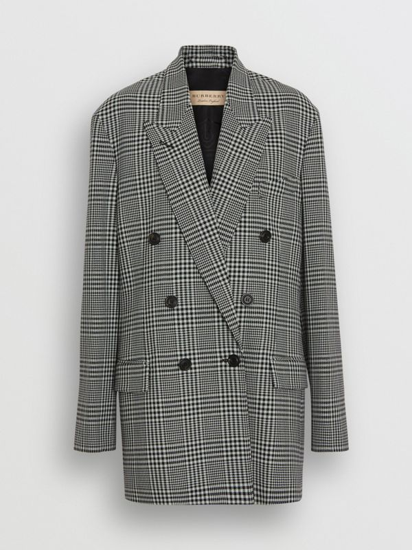 Prince of Wales Check Wool Oversized Jacket in Mist Green - Women | Burberry Singapore - cell image 3