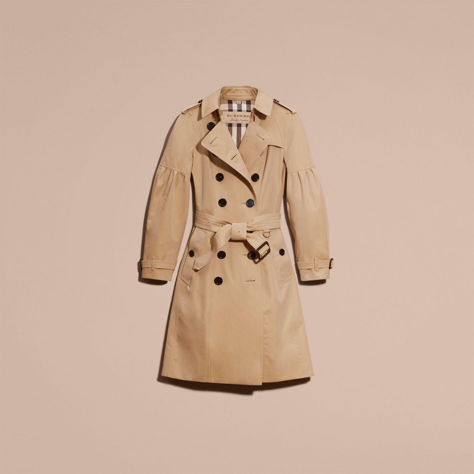 Honey Cotton Gabardine Trench Coat with Puff Sleeves Honey - gallery image 4