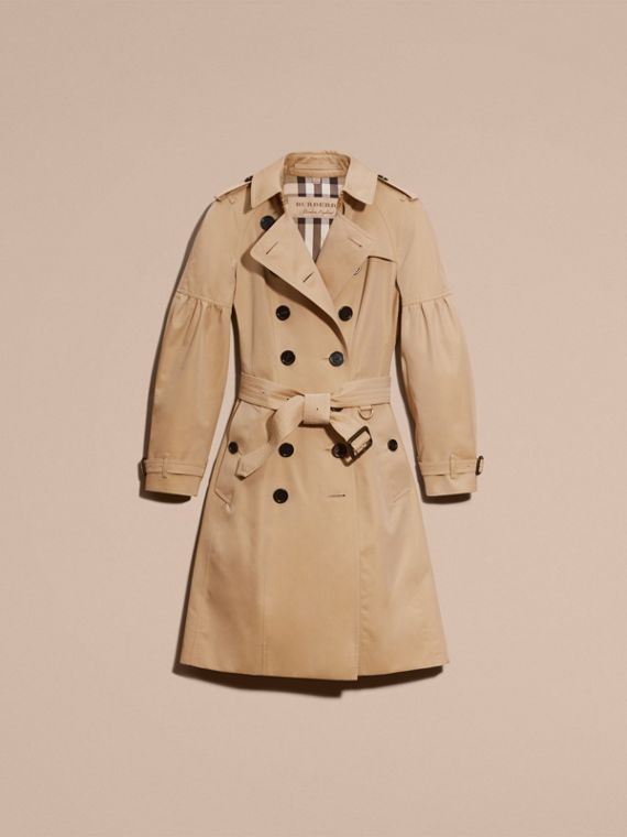 Honey Cotton Gabardine Trench Coat with Puff Sleeves Honey - cell image 3