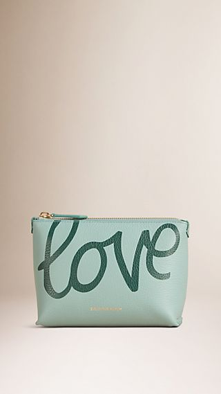 Printed Grainy Leather Beauty Pouch