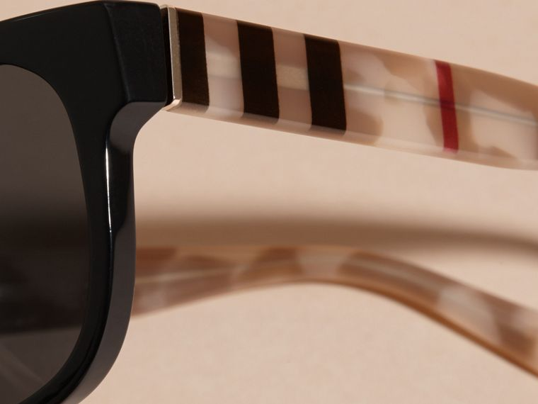 Black Check and Camouflage Detail Square Frame Sunglasses Black - cell image 1