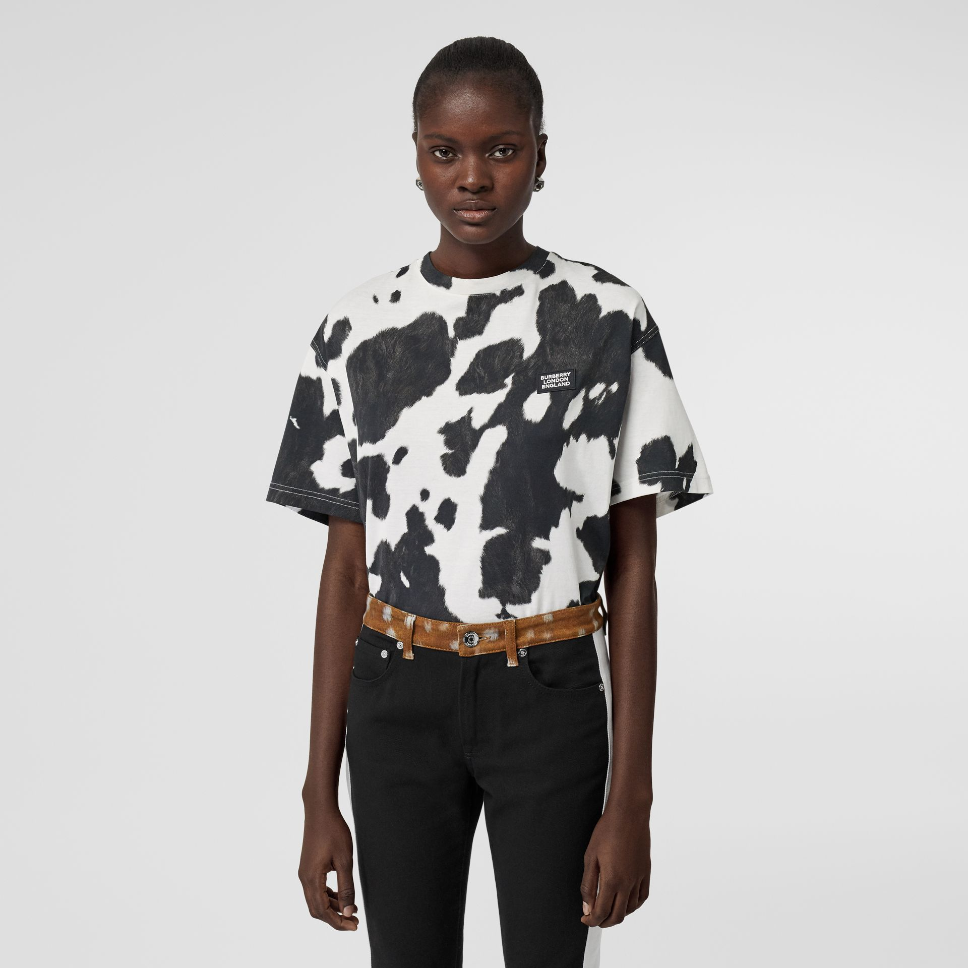 Logo Detail Cow Print Cotton Oversized T-shirt in Black - Women | Burberry - gallery image 0
