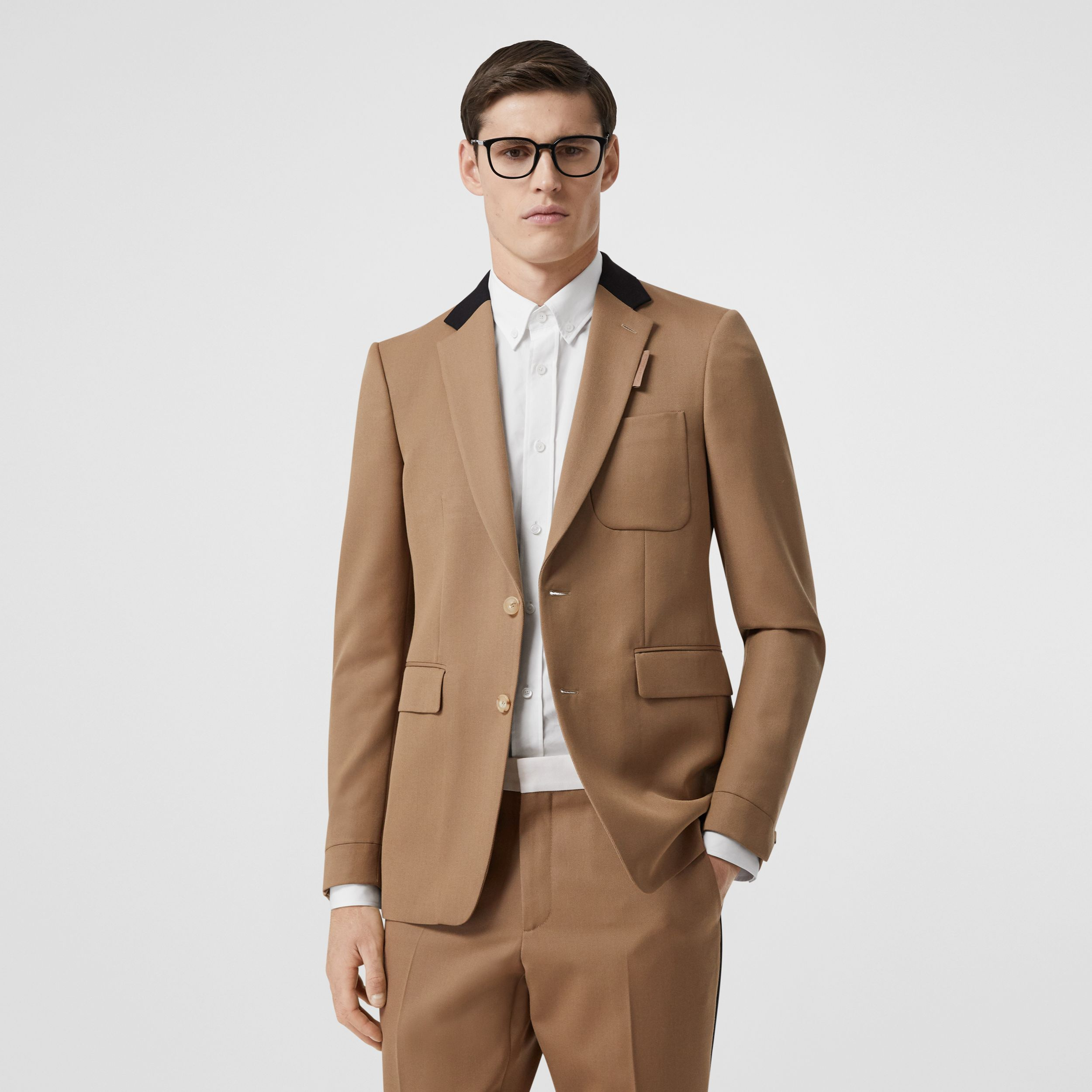 Classic Fit Two-tone Wool Tailored Jacket in Camel - Men | Burberry - 1
