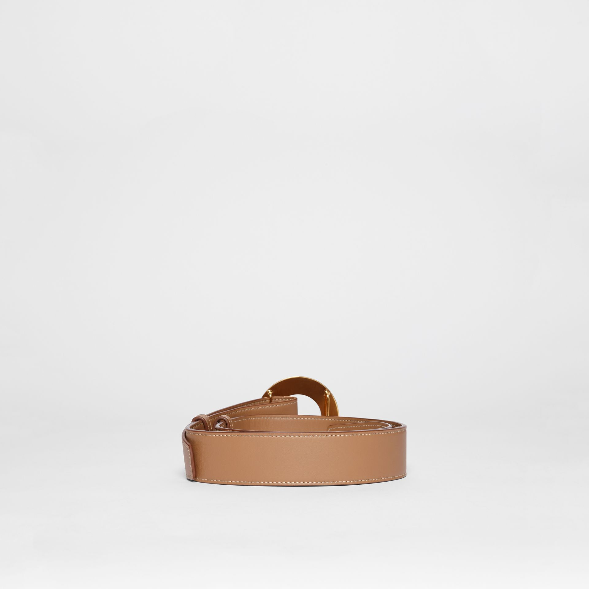 Porthole Buckle Leather Belt in Light Camel - Women | Burberry - gallery image 3