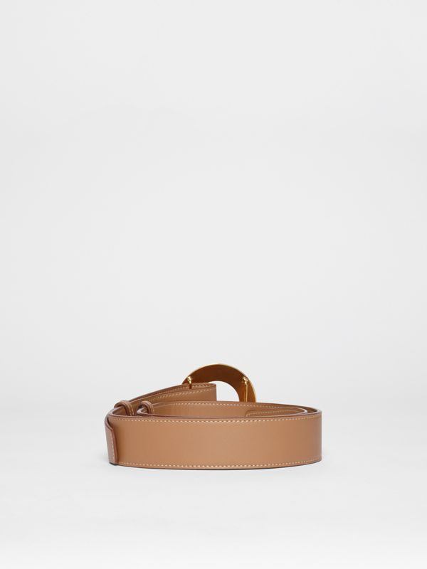 Porthole Buckle Leather Belt in Light Camel - Women | Burberry - cell image 3