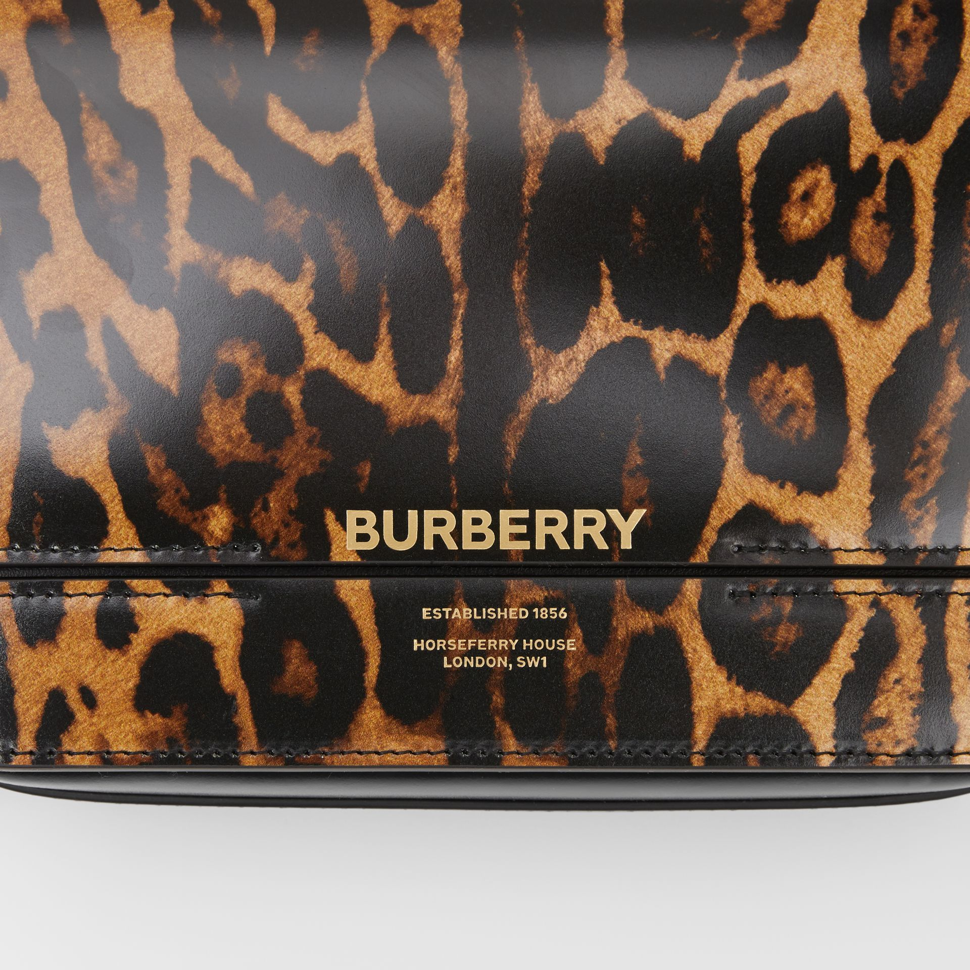 Small Leopard Print Leather Grace Bag in Dark Mustard - Women | Burberry - gallery image 1