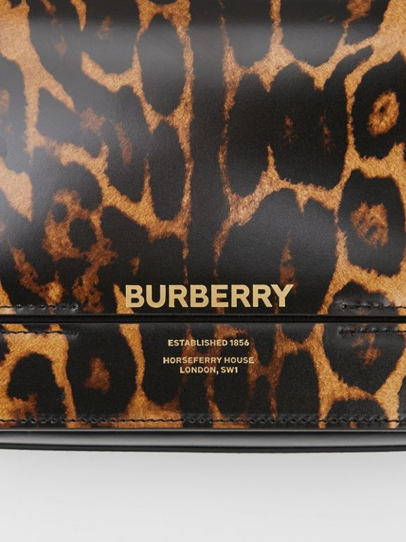 Small Leopard Print Leather Grace Bag in Dark Mustard - Women | Burberry - cell image 1