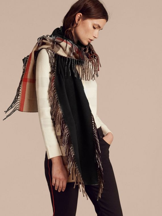 Fringed Cashmere Merino Wool Stole in Camel/black - cell image 2