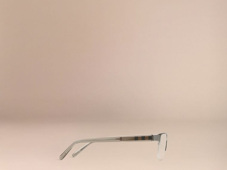 Brushed silver Check Detail Rectangular Optical Frames Brushed Silver - cell image 4