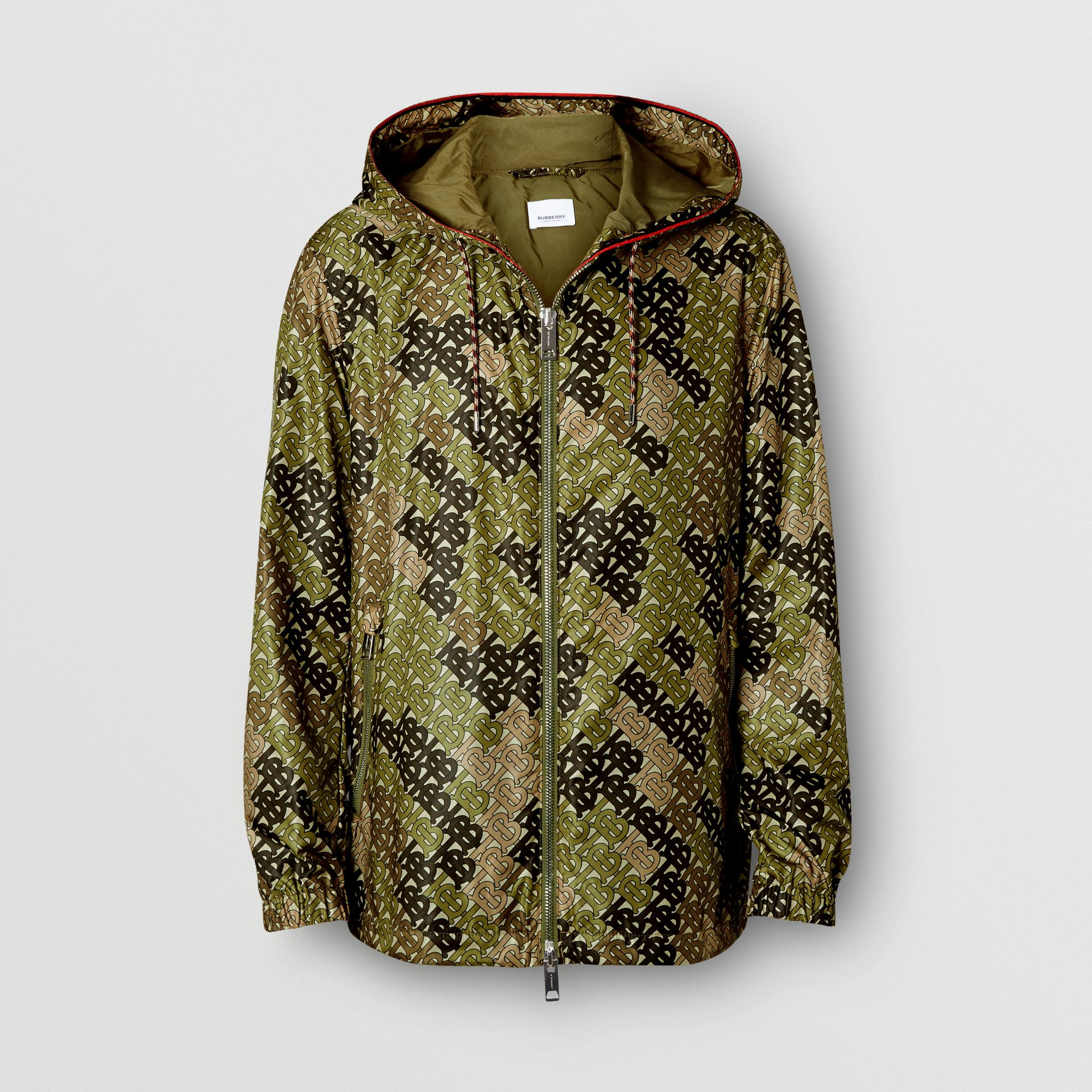 Monogram Print Nylon Hooded Jacket in Khaki Green - Men | Burberry - gallery image 3