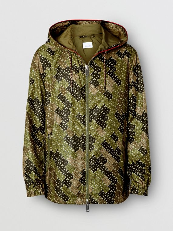 Monogram Print Nylon Hooded Jacket in Khaki Green