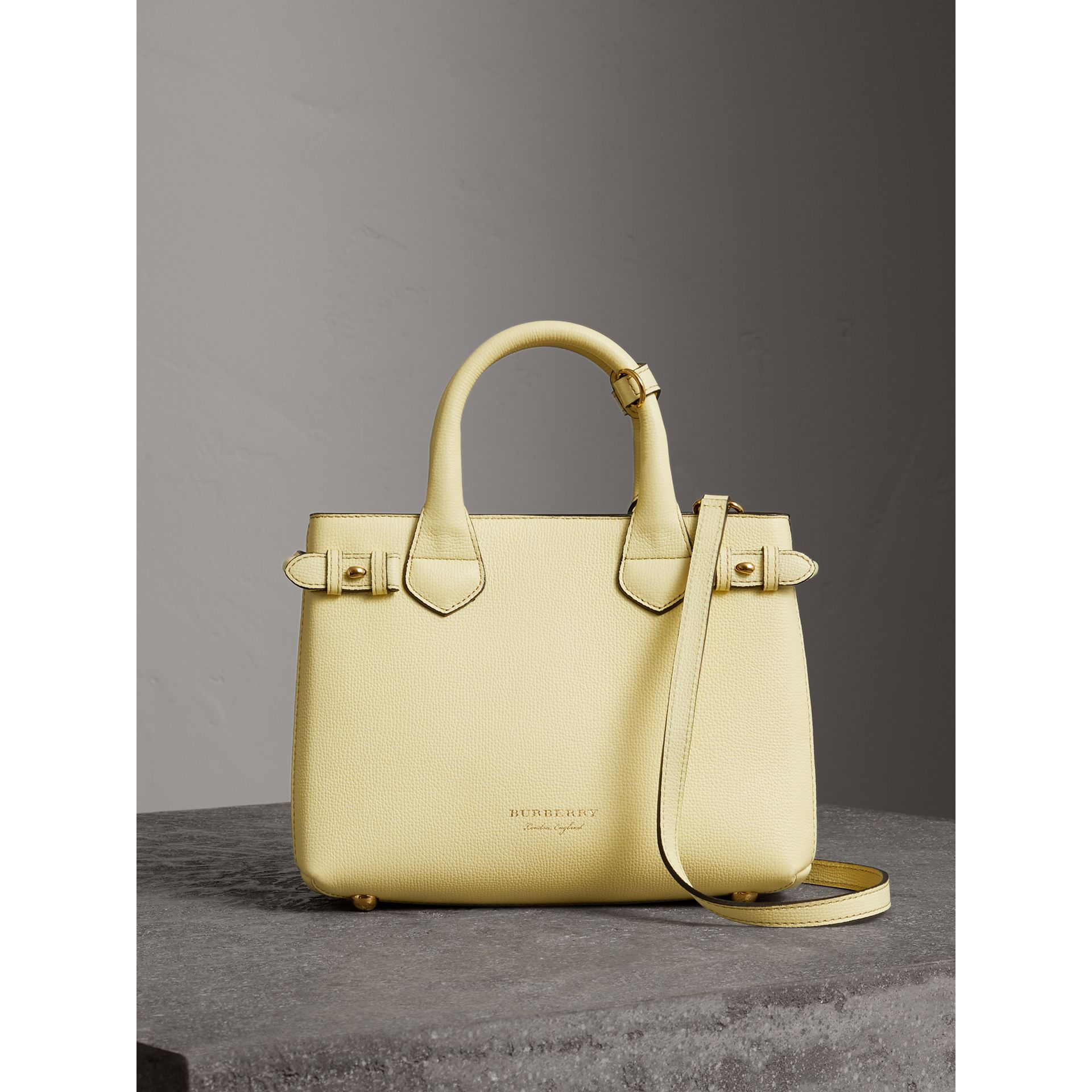 The Small Banner in Leather and House Check in Camomile Yellow - Women | Burberry - gallery image 6