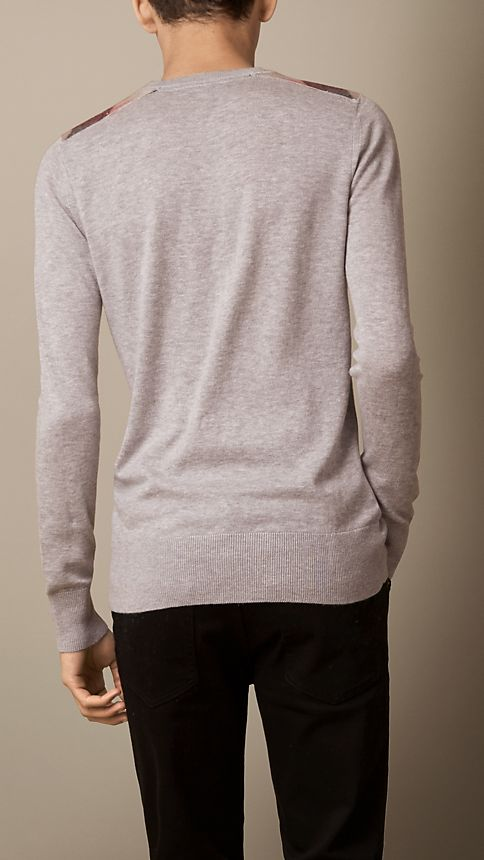 Pale grey melange Check Detail Cotton Cashmere Sweater Pale Grey Melange - Image 2