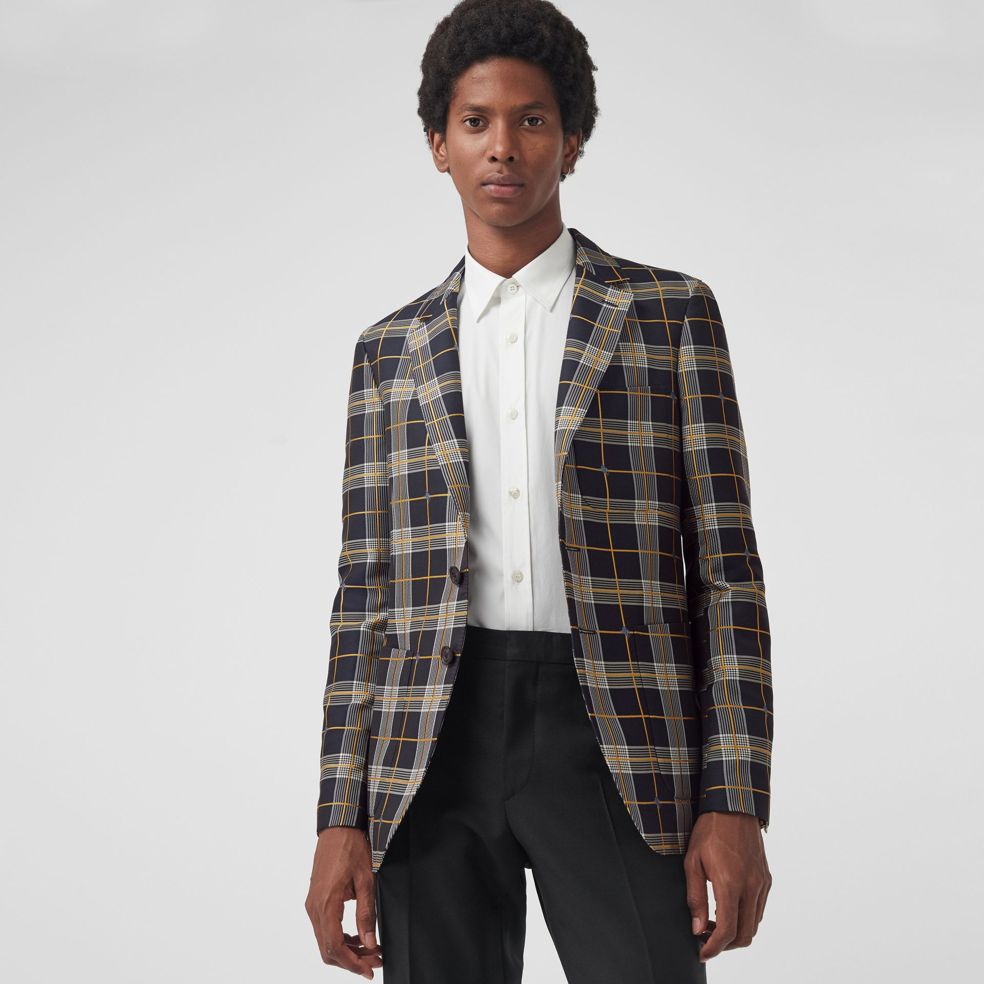 Slim Fit Equestrian Knight Check Tailored Jacket in Navy - Men | Burberry - gallery image 4