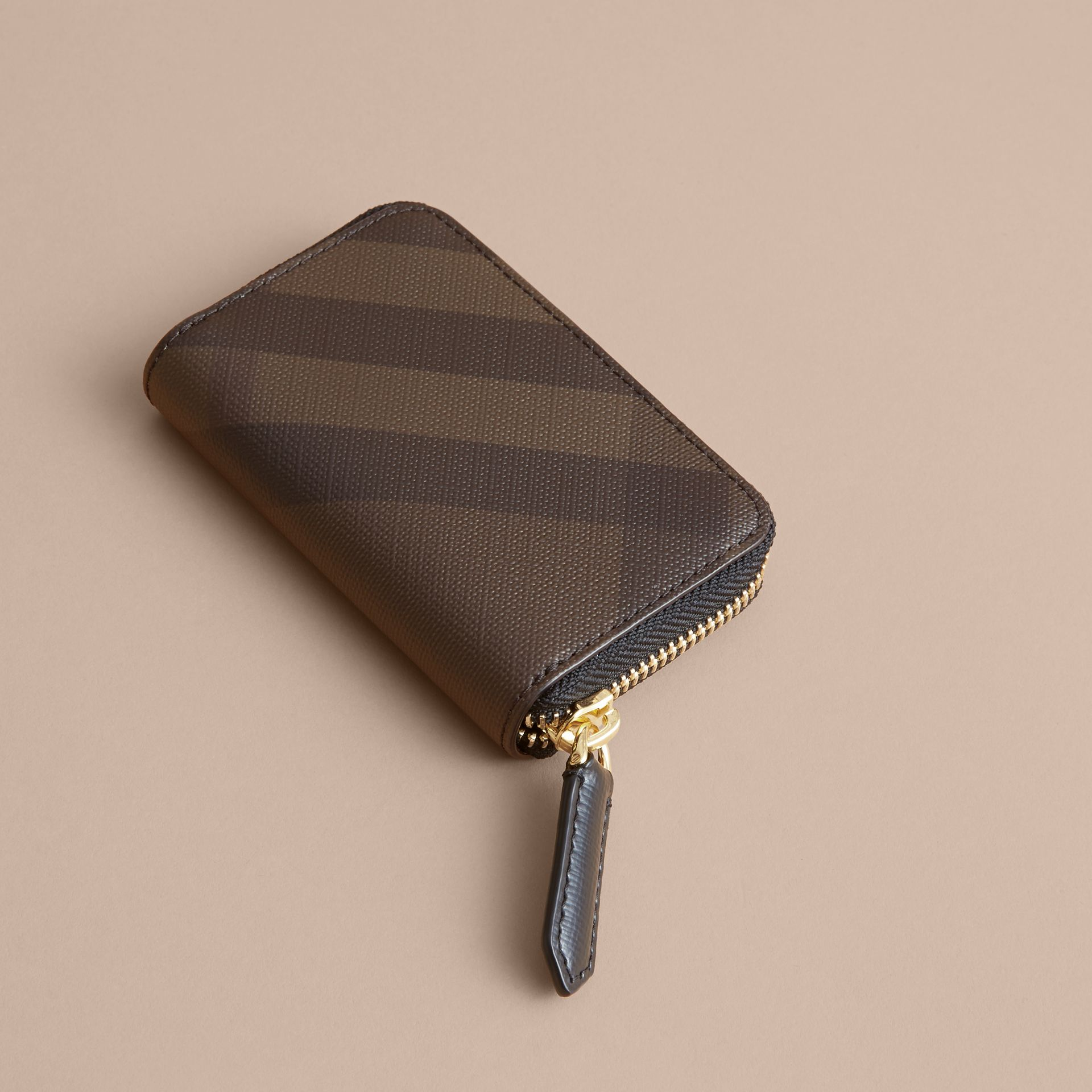 London Check Ziparound Coin Case in Chocolate/black - Men | Burberry - gallery image 3