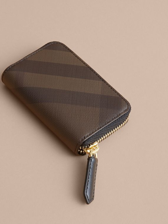 London Check Ziparound Coin Case in Chocolate/black - Men | Burberry Canada - cell image 2