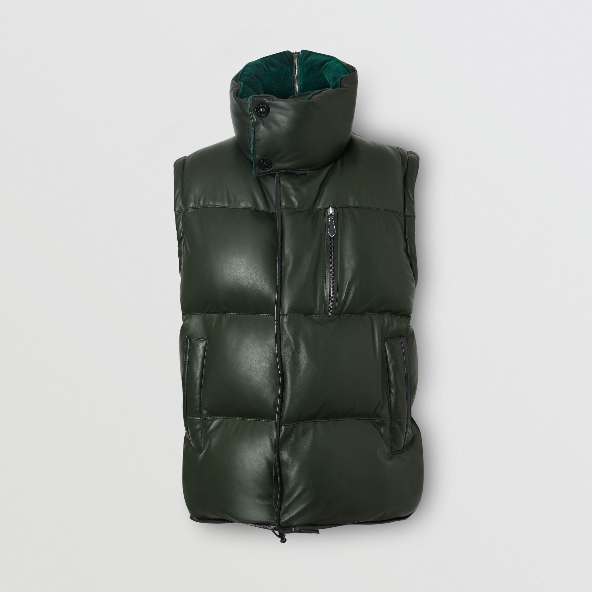 Velvet Trim Down-filled Lambskin Puffer Gilet in Dark Pine Green - Men | Burberry - gallery image 2