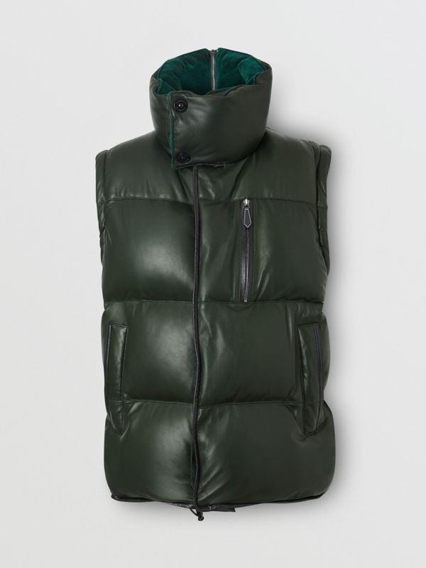 Velvet Trim Down-filled Lambskin Puffer Gilet in Dark Pine Green - Men | Burberry - cell image 3