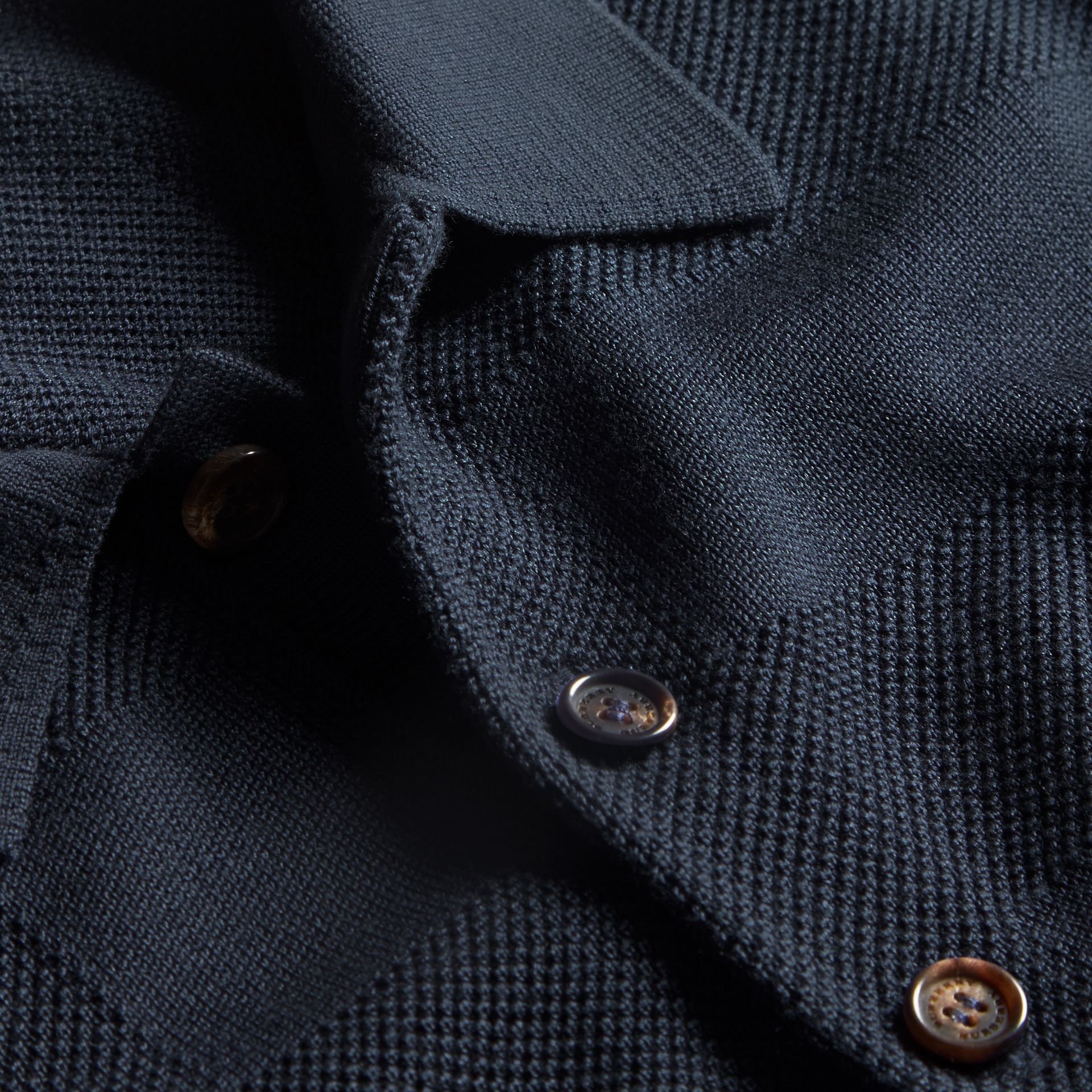 Check Jacquard Piqué Silk Cotton Polo Shirt in Navy - Men | Burberry - gallery image 2