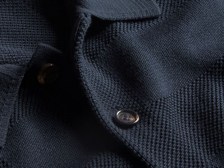 Check Jacquard Piqué Silk Cotton Polo Shirt in Navy - Men | Burberry - cell image 1