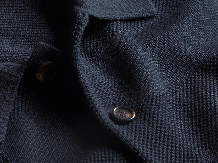 チェックジャカード ピケシルクコットン ポロシャツ (ネイビー) - メンズ | バーバリー - cell image 1