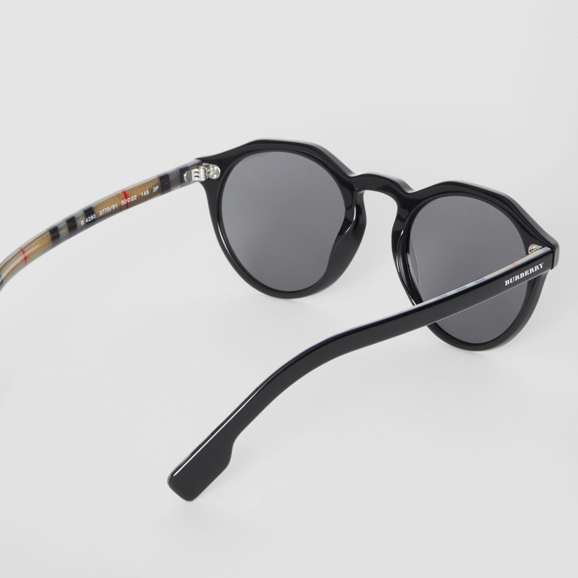 Vintage Check Detail Round Frame Sunglasses in Black - Men | Burberry - gallery image 4