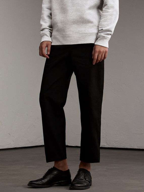 Cotton Twill Cropped Workwear Trousers - Men | Burberry Australia