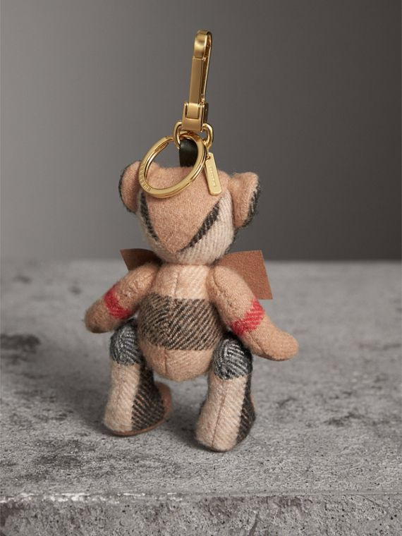 Thomas Bear Charm in Check Cashmere in Camel | Burberry Singapore - cell image 3