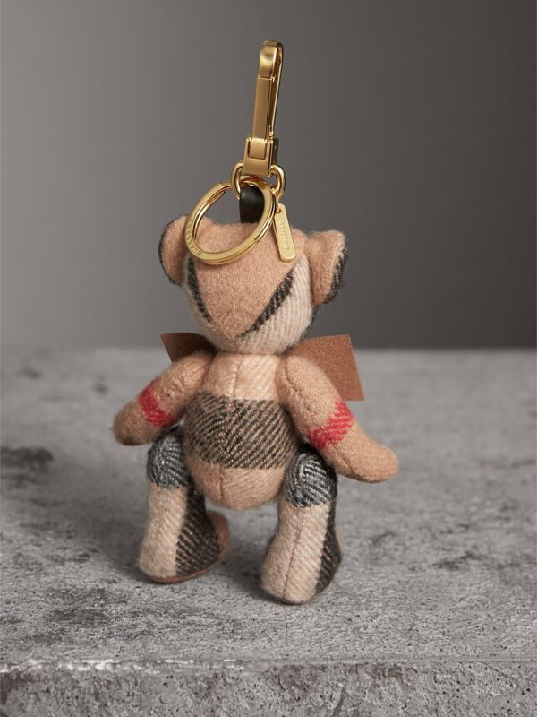 Thomas Bear Charm in Check Cashmere in Camel | Burberry Australia - cell image 3