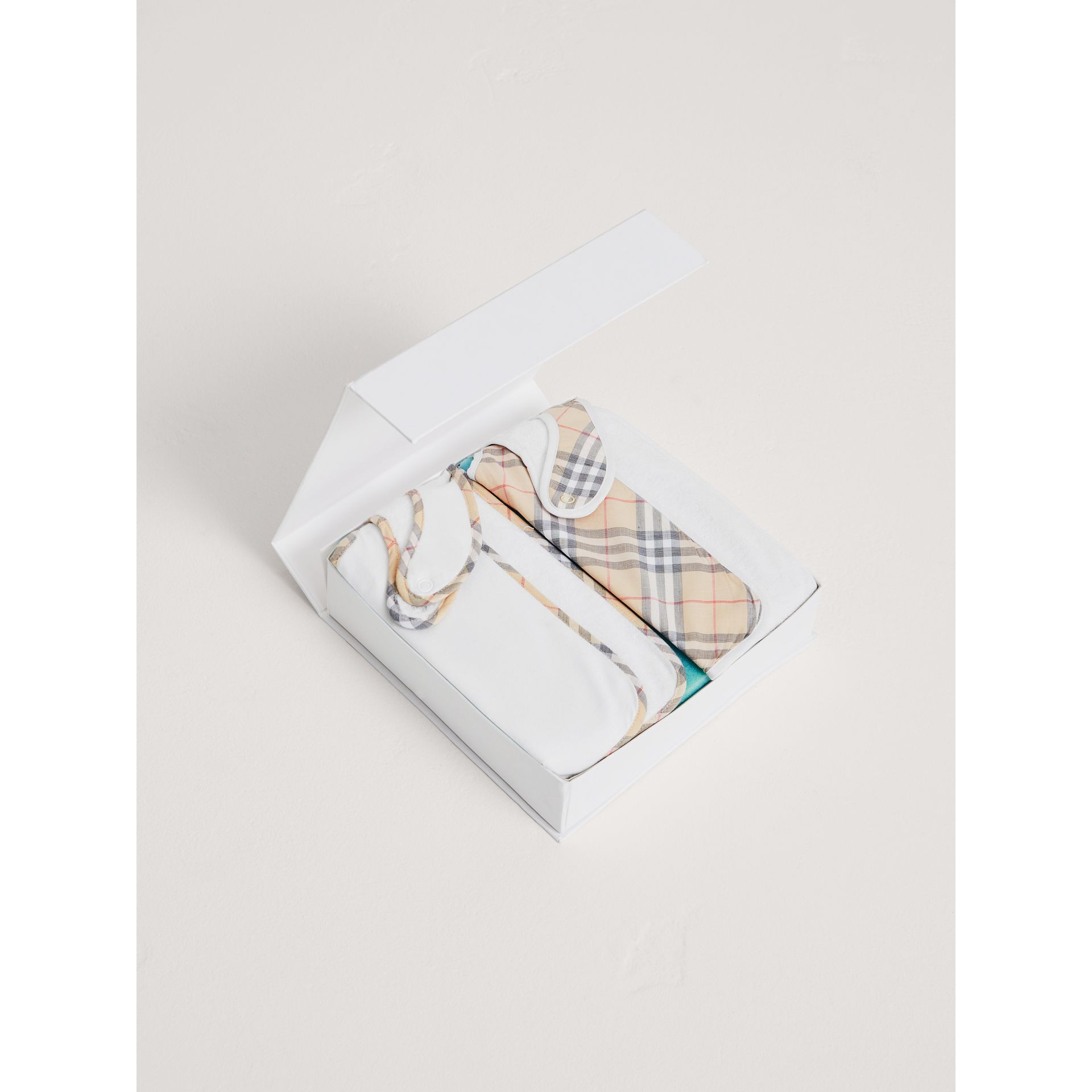 Cotton Two-piece Baby Gift Set in White | Burberry - gallery image 3