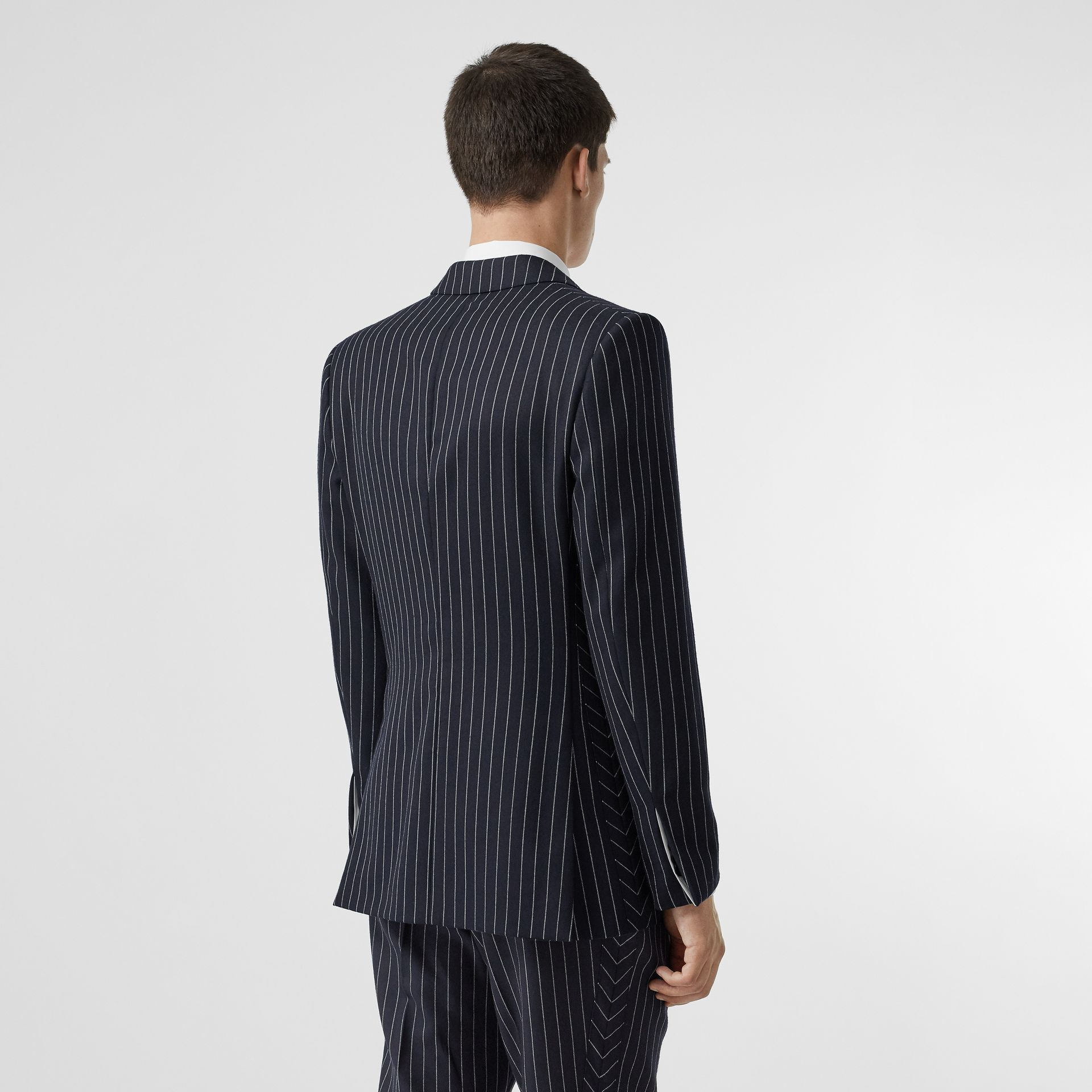 Pinstriped Wool Waistcoat in Dark Navy/white | Burberry Australia - gallery image 2