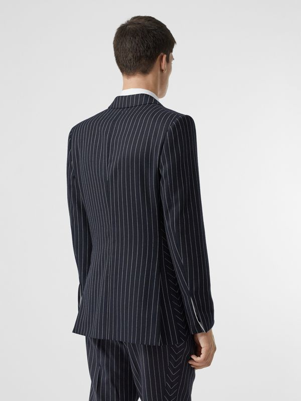 Pinstriped Wool Waistcoat in Dark Navy/white | Burberry Australia - cell image 2