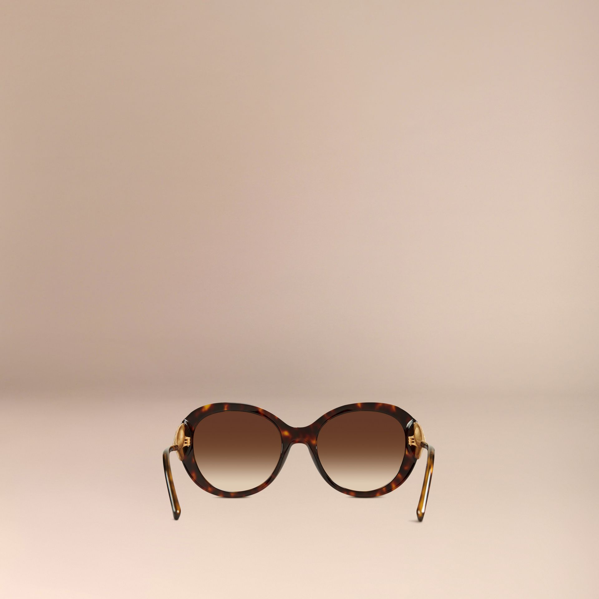 Gabardine Collection Oversize Round Frame Sunglasses in Ebony - Women | Burberry - gallery image 4