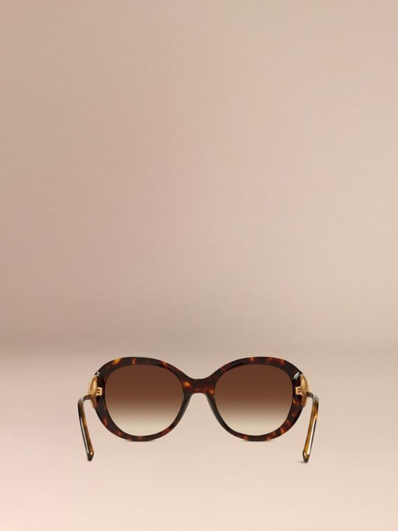 Gabardine Collection Oversize Round Frame Sunglasses in Ebony - Women | Burberry - cell image 3