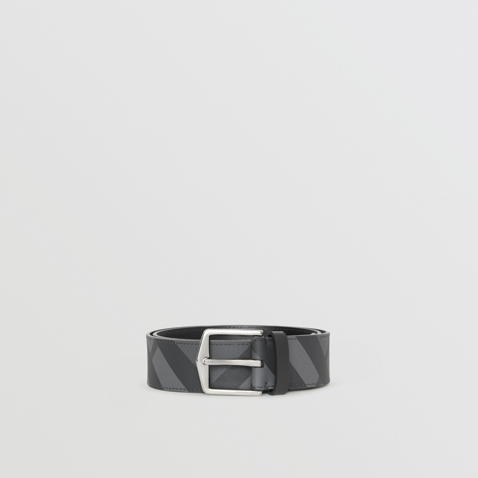 London Check Belt in Charcoal/black - Men | Burberry Canada - gallery image 3