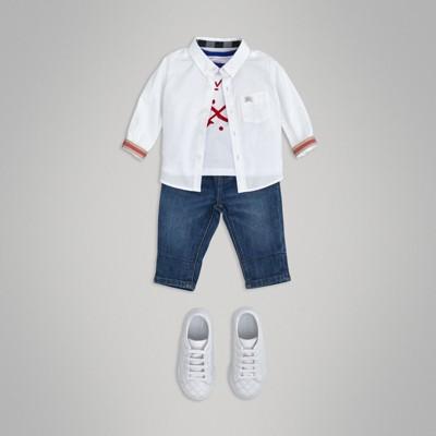 Button down Collar Cotton Oxford Shirt in White