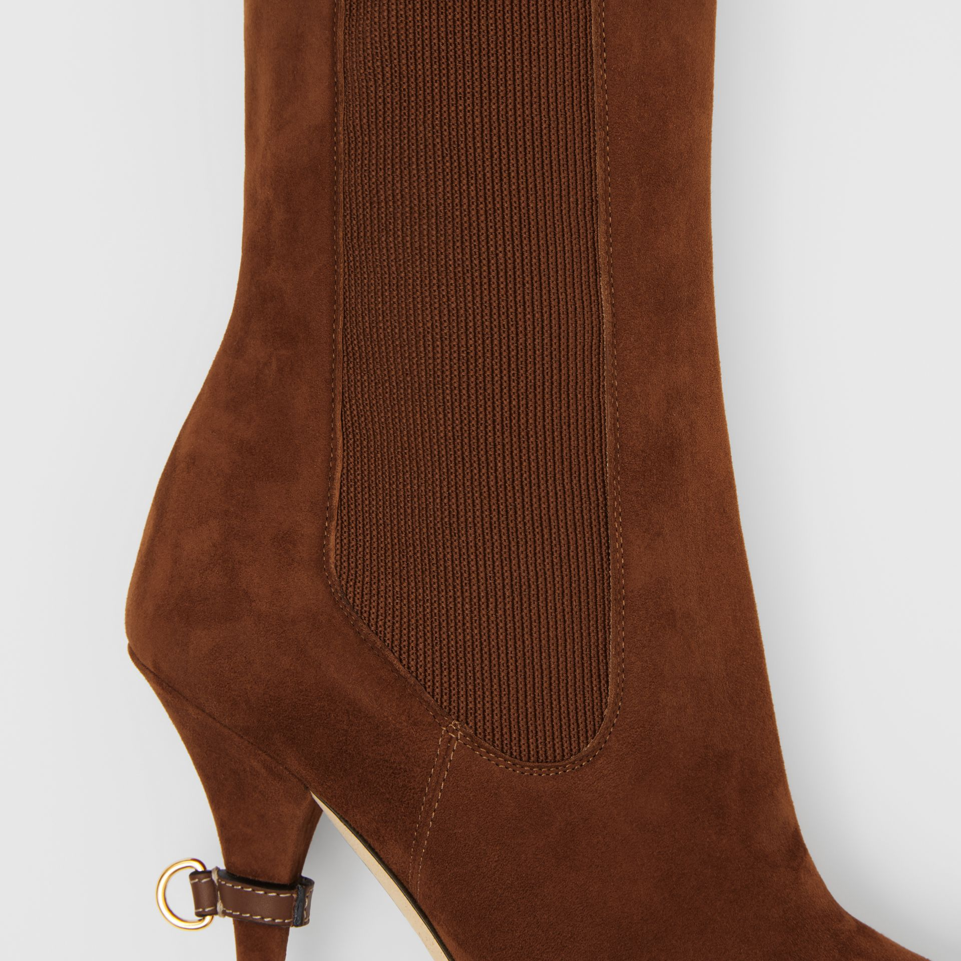D-ring Detail Suede Ankle Boots in Tan - Women | Burberry - gallery image 1