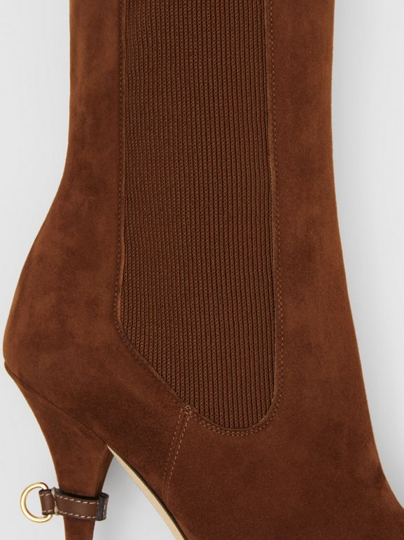 D-ring Detail Suede Ankle Boots in Tan - Women | Burberry Singapore - cell image 1