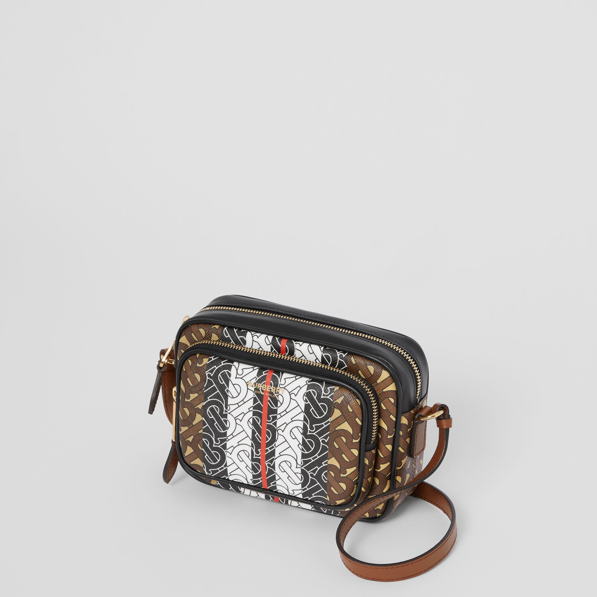 Monogram Stripe E-canvas Camera Bag in Bridle Brown | Burberry Singapore - gallery image 4