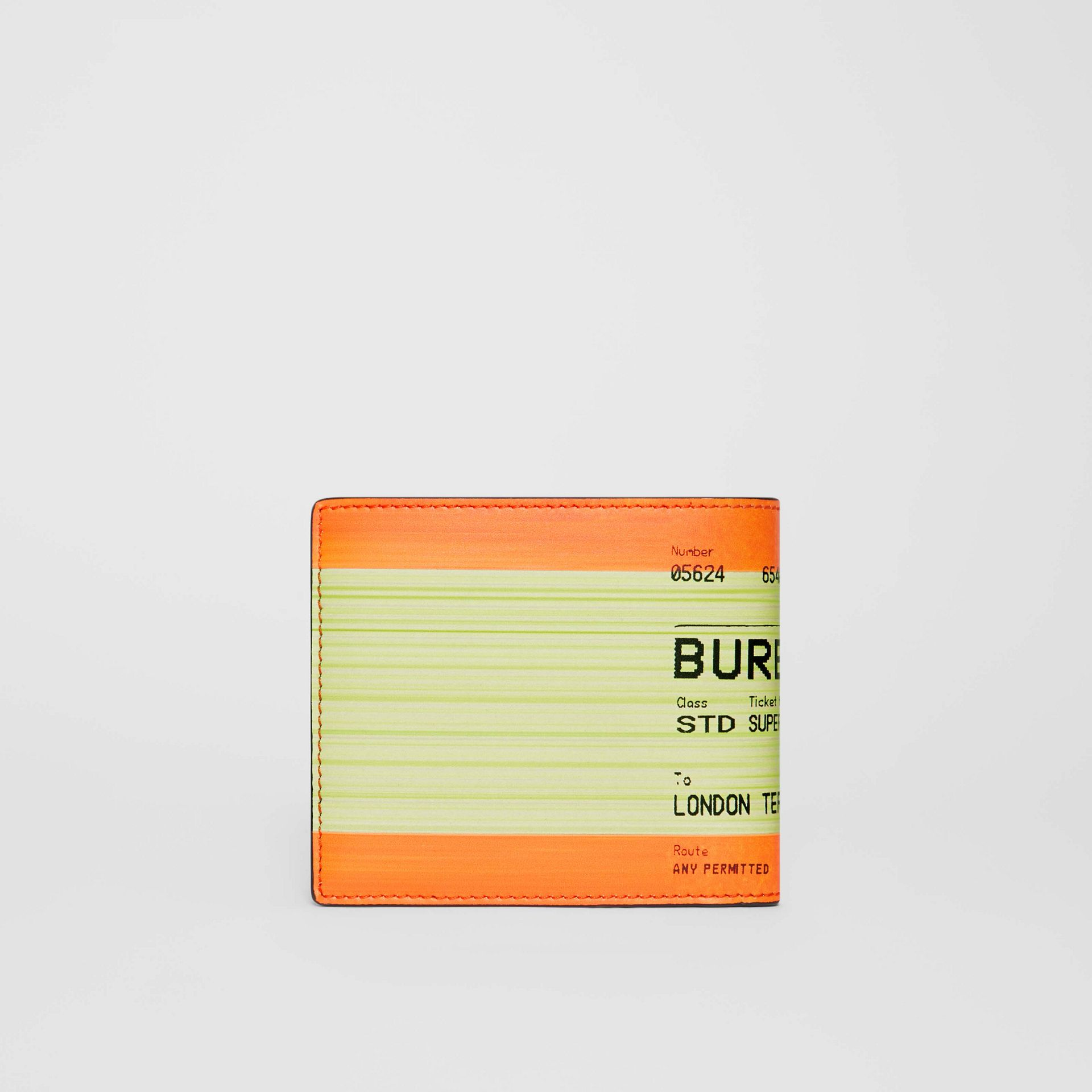 Train Ticket Print Leather International Bifold Wallet in Orange - Men | Burberry - gallery image 4