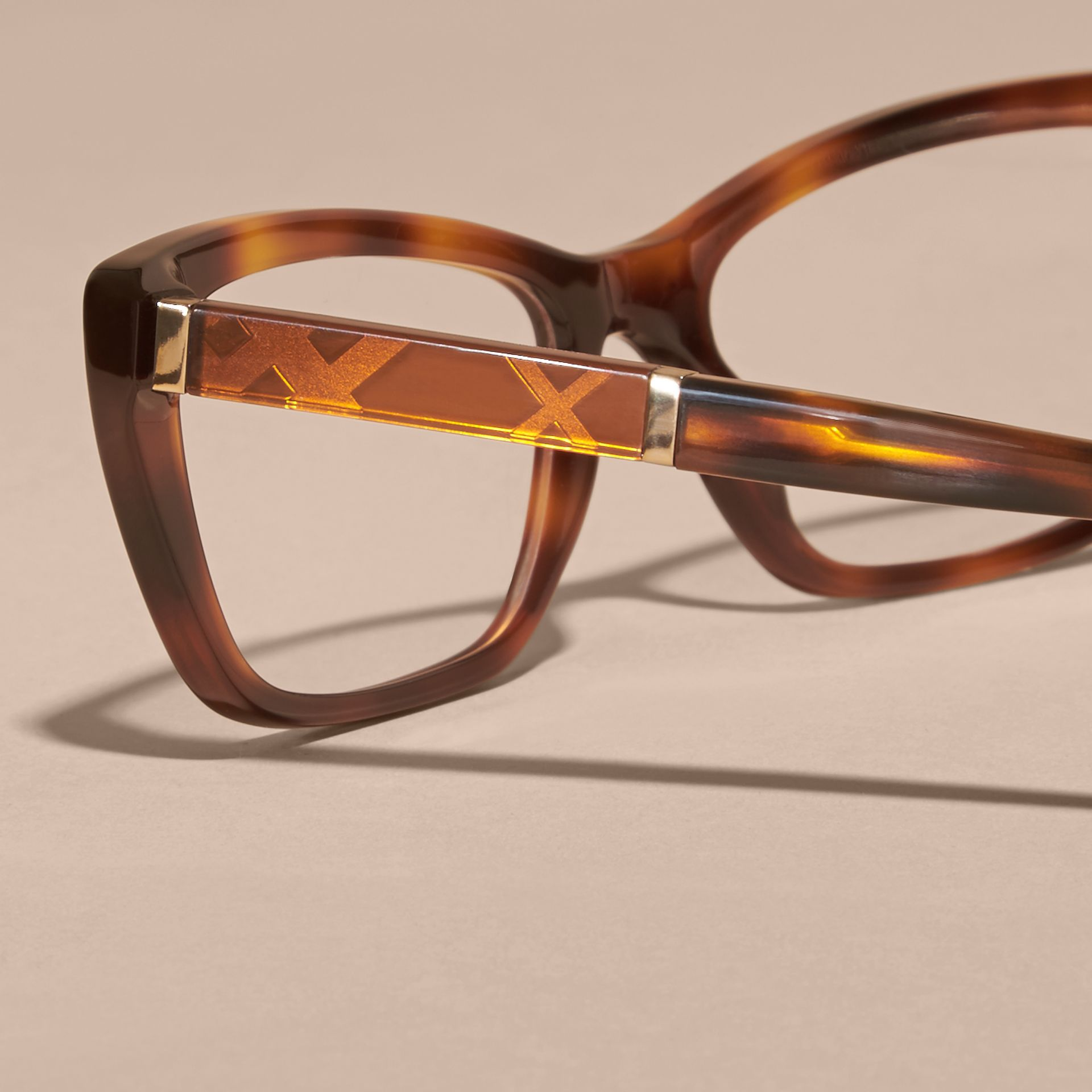 Check Detail Rectangular Cat-eye Optical Frames Light Russet Brown - gallery image 2