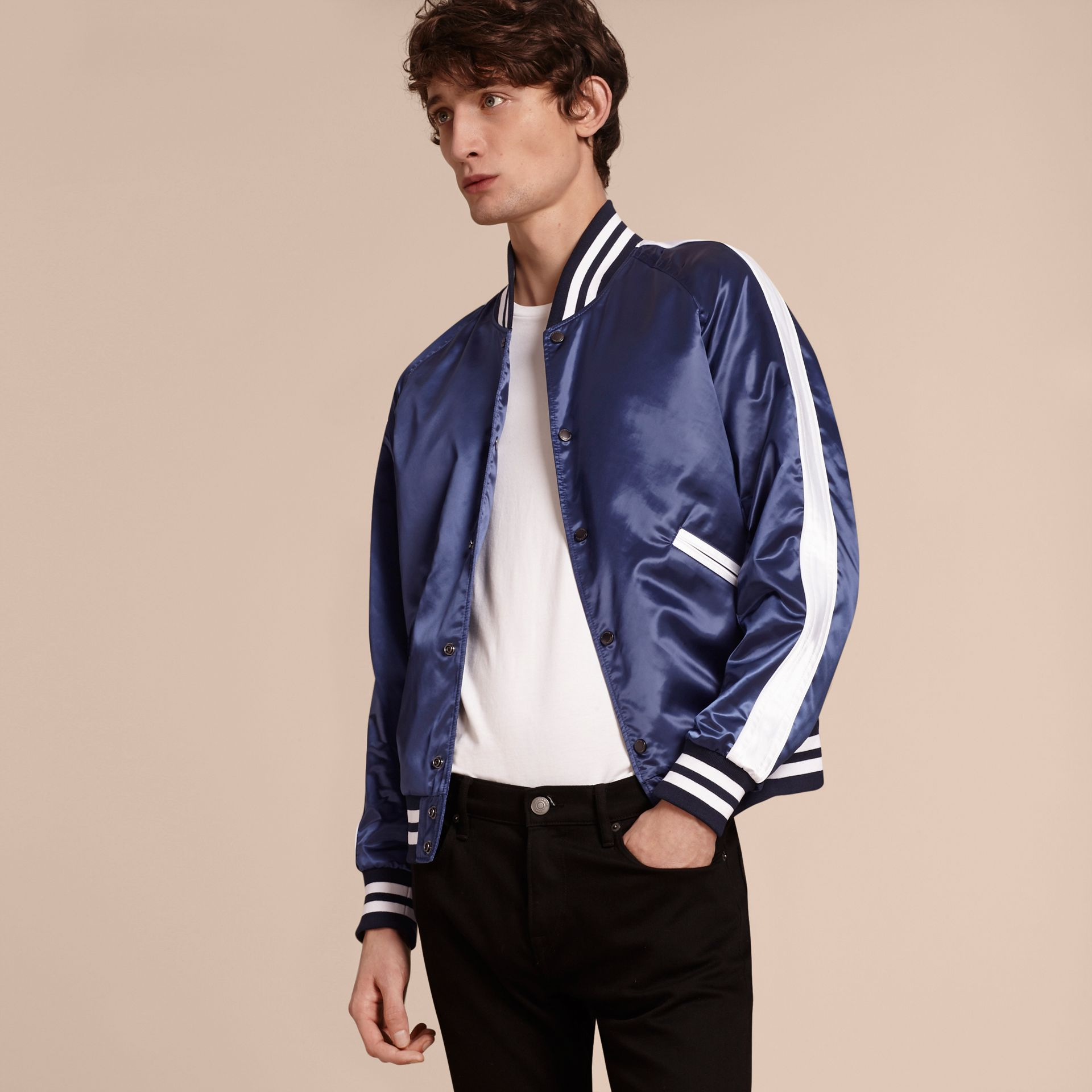 Bright navy Varsity Bomber Jacket - gallery image 6