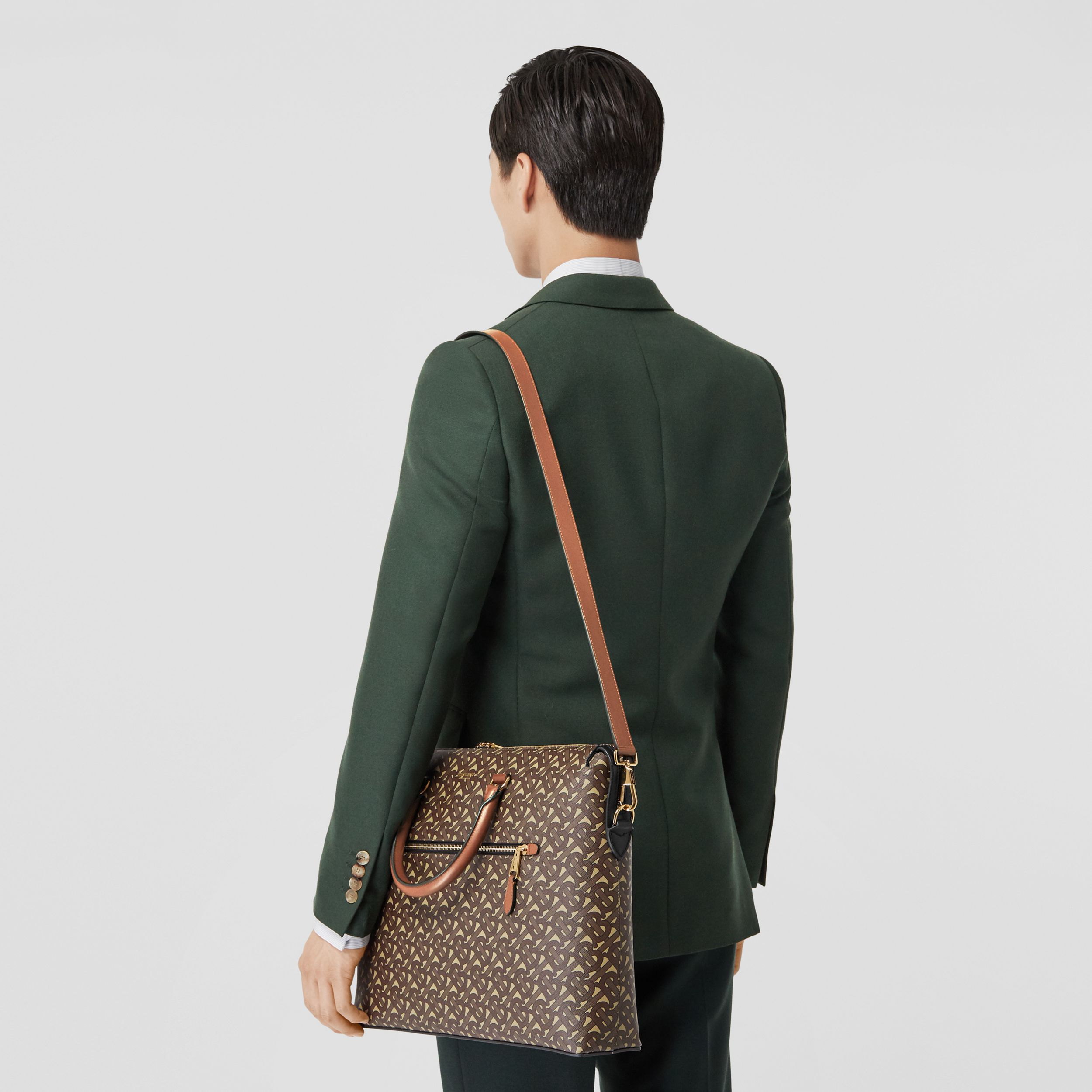 Monogram E-canvas Briefcase in Bridle Brown - Men | Burberry Australia - 3