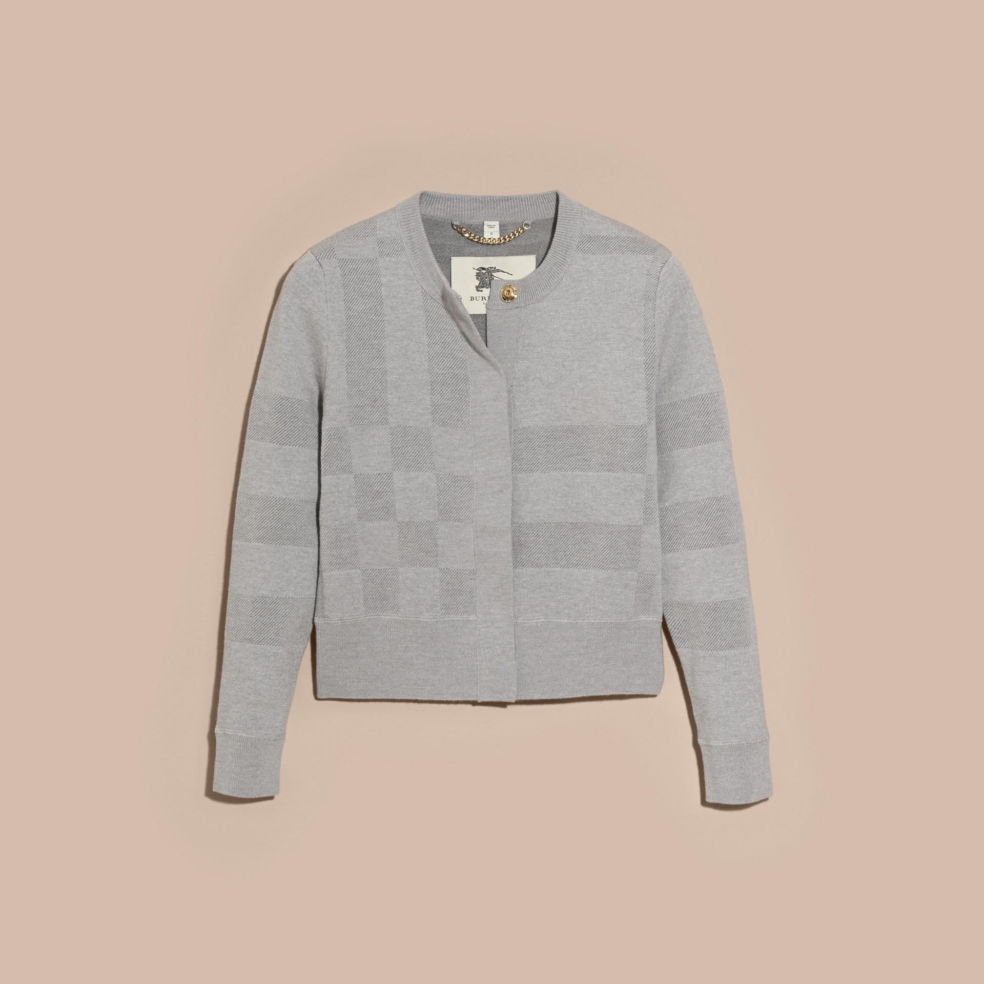 Mid grey melange Check Knit Wool Blend Cardigan - gallery image 3
